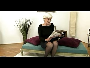 Grizzle Haired Granny in Nylons Acquires Cum on her Hirsute Cum-hole