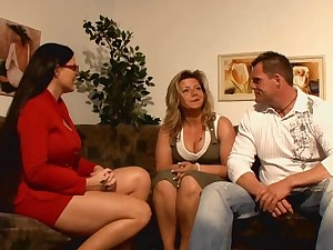 Favourable fellow having lark with 2 sexy german moms!
