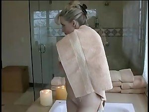 golden-haired with huge marangos approve shower