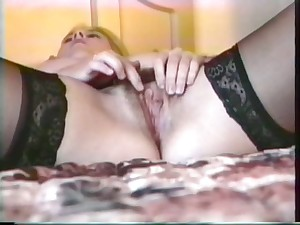 Blond adolescent in underwear toys her cum-hole h her red sex toy