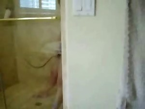Spying my lovable mama fingering in shower. Hidden livecam