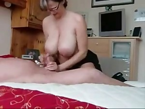 Breasty Step Mamma Jerking off