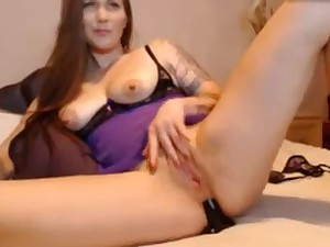 Vicious white doxy pokes her a-hole and snatch with her sex toy