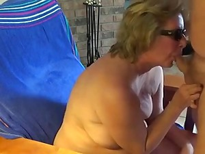 Granny sucks rod and gets cum on chest