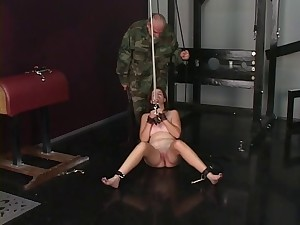 Nice youthful hairless twat dark brown serf virgin is caned and spanked by taskmaster