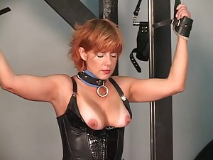 Aged masculine tortures his redead brunette hair and blond S&m slaves on rack