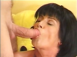 Aged lady lusts for youthful guy's knob