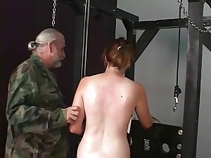 Lovable dark brown serf virgin receives checked for clamp work on her bald cunt