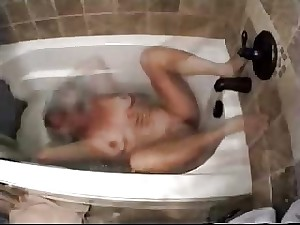 Caught my mamma masturbating in tub tube. Hidden webcam