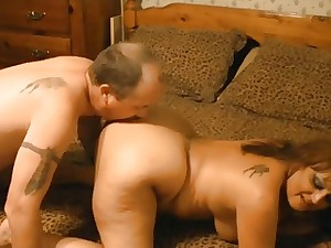 Aged Corpulent Wife Tastes Her Possess Booty