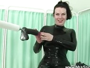 Older in latex sucks and bonks sex device