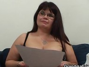 2 guys are banging biggest titted aged whore