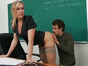 Super sexy golden-haired MILF tutor shows taut figure