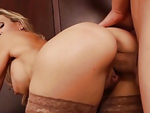 Beautiful golden-haired MILF handler shows constricted bulk