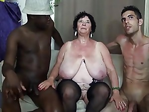 FRENCH BBW 65YO GRANNY OLGA Screwed BY 2 Studs - DP