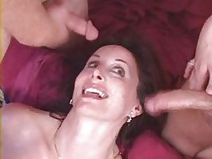 Charming non-professional milf fuck with 2 twinks