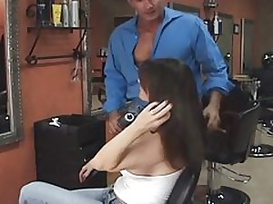 Sexy Breasty Dark brown Cougar Group-fucked By Hairdresser