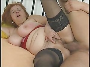 Breasty Corpulent Older in Nylons Sucks and Bonks