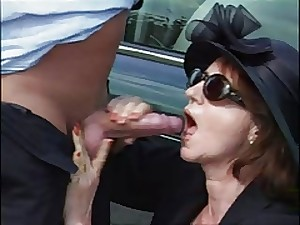 58 year previous lady copulates her chauffeur and a hitchhiker