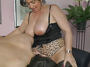 German mama shows young boy whence to erect a feminine cum