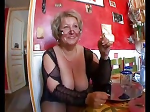 Sexy bald corpulent granny in nylons fucking with 2 chaps