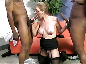 Large Nipp Blond Older Copulates 2 Darksome Cocks!!!!!!!
