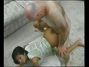 Late Masculine AND Young boy grandpapa and a oriental boy