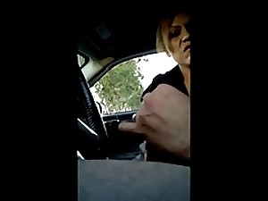 Flashing lascivious milf during the time that driving, pulls atop of for greater amount