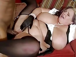 Chunky mamma with grease whoppers & dark stud with massive weenie