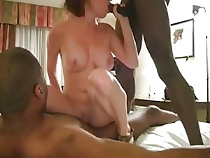 Hawt MILF In Pink With 2 Darksome Fellows