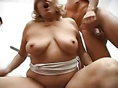 German grannies fuck for a creampie