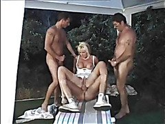 Golden-Haired German Granny is waiting to be team-fucked in