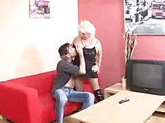 Hawt Busty Golden-Haired Granny Banging In Footwear