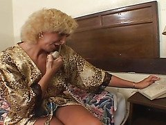 previous golden-haired granny fucking with young