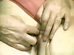 Unshaved granny masturbates and receives pressed