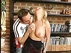 Blond MILF with good hangers screwed and facialized