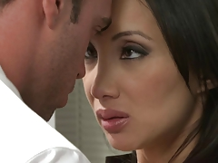 Oriental young lady receives drilled in the office