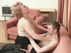 Russian mommy is drilled by her twink
