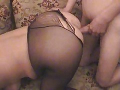 Former Blond Granny in Hose Sucks and Bonks the Young