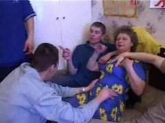Russian Granny With 5 Young boys