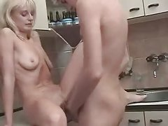 Russian Golden-haired Mommy Son's mate at Cook-room