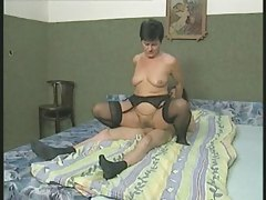 Curly Granny in Nylons Copulates the Twink