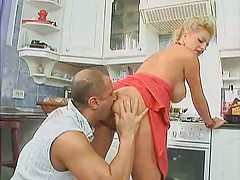 golden-haired lewd milf drilled in the cook-room