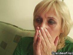 Blond granny takes 2 rigid jocks at one time