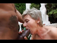 Grizzle Haired Granny Outside Engulf and Fuck