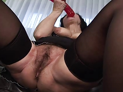 Granny in Nylons Toys and Copulates