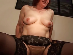 Unshaved Older Ginger in Spectacles and Nylons Bonks