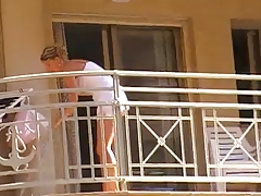 Hotties cleaning balcony no pants upskirt 1