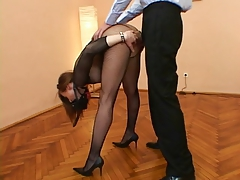 Sexually excited chick in act with a great wang