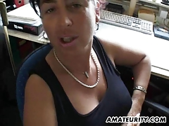 Breasty dilettante Milf sucks and copulates with facial